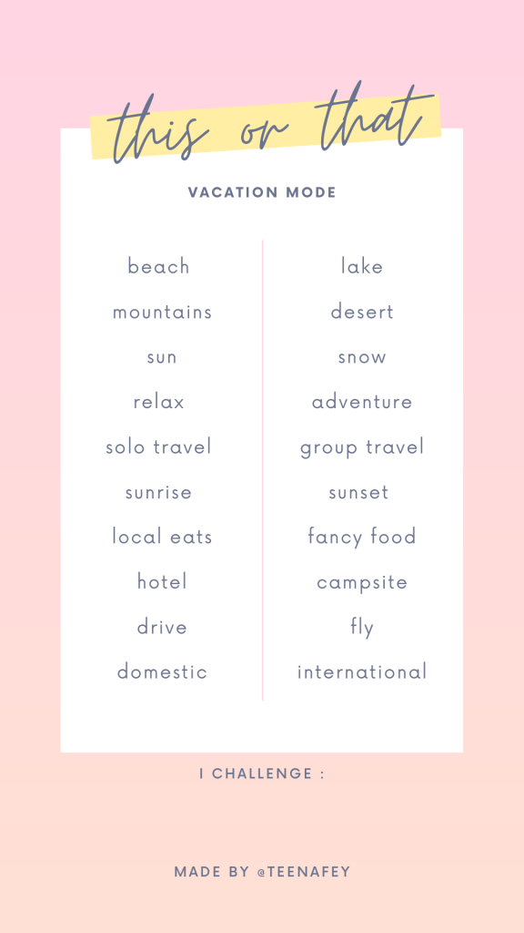 This or That Instagram Story Template for Travel Preferences and Vacation Favorites