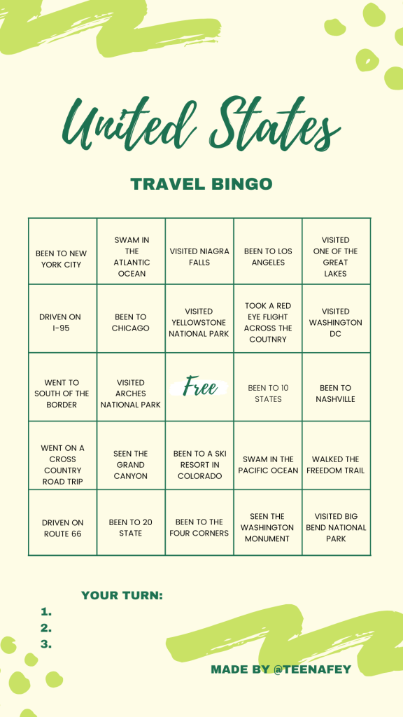 Instagram Story Bingo for United States Travel