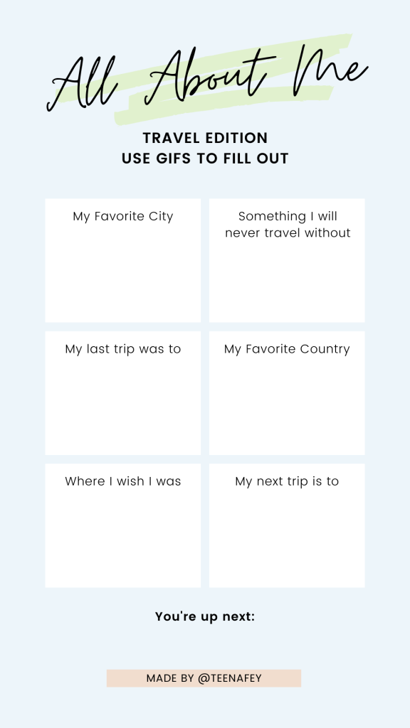 All About Me Travel Edition, GIF Challenge for Instagram Story